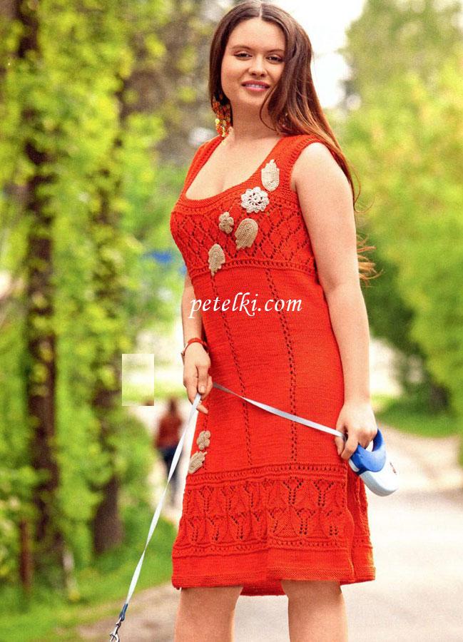 Вязание спицами платьев со схемами