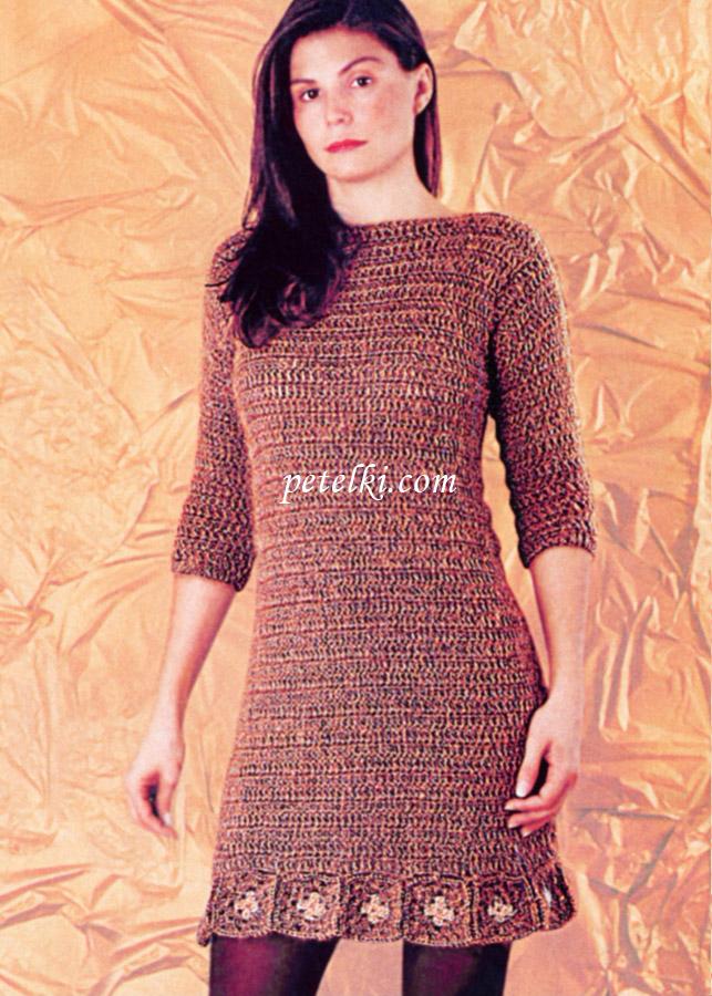 Длинное вязаное платье спицами - Платье с Платье с коротким рукавом Как связать платье спицами описание работы и