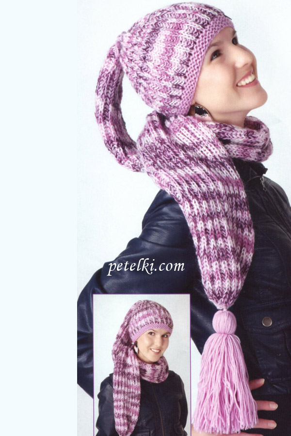 Шапка-шарф английской резинкой