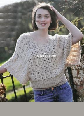 Вязаный пуловер летучая мышь