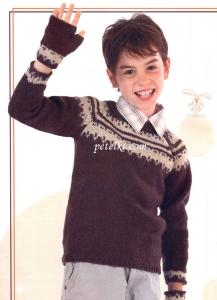 Жаккардовый пуловер и митенки для мальчика